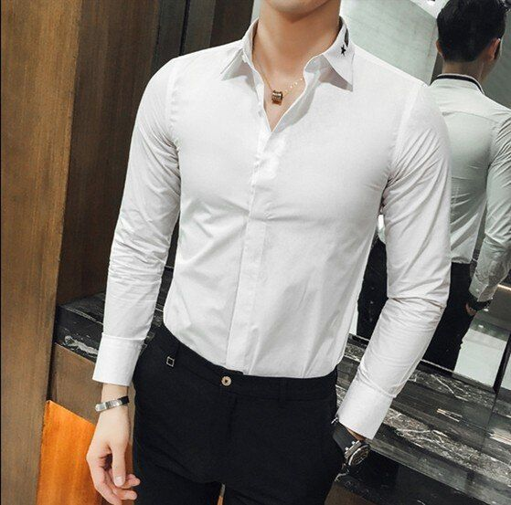 Autumn white shirt male long-sleeve slim solid color business casual shirt plus size clothes formal