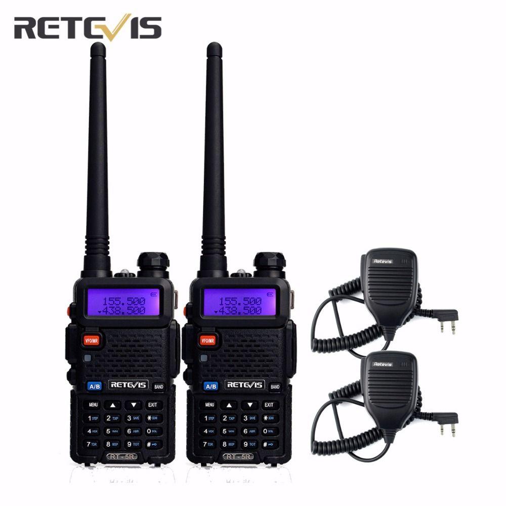 2Pcs Durable 5W Talkie Walkie Retevis RT-5R +2X Speaker Mic VHF/UHF Portable Radio Hf Transceiver Amateur Two Way Radio Moscow