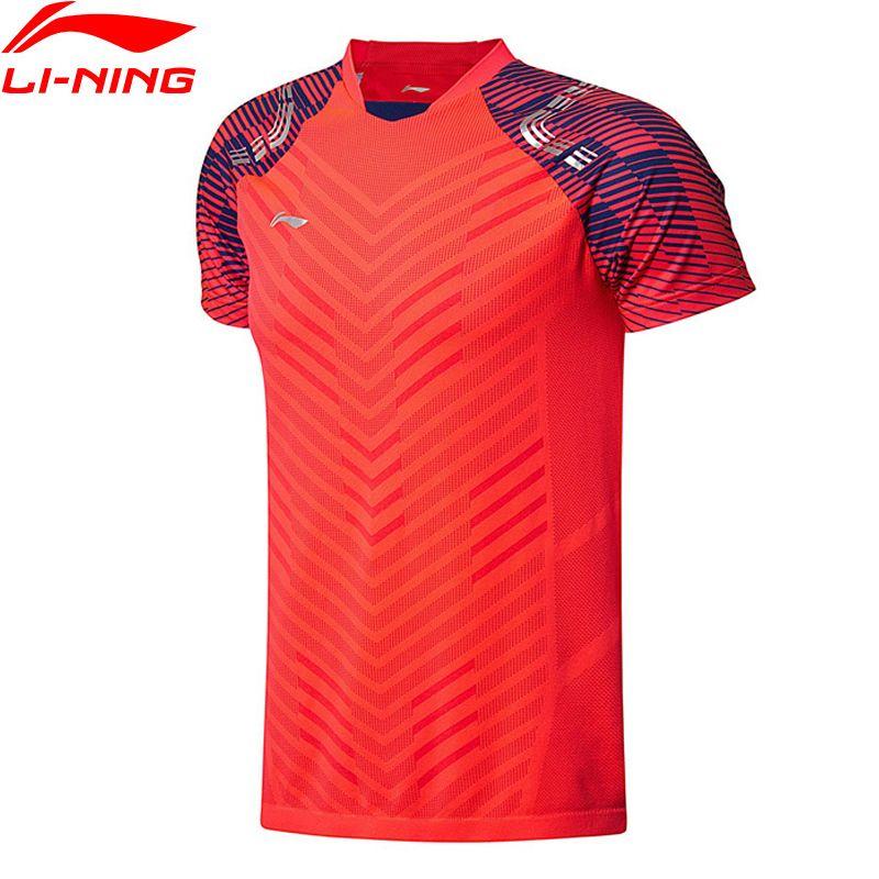 Li Ning Männer Badminton T-Shirts BEI Wettbewerb Top Fitness T Komfort Atmungsaktiv T-shirt AAYN001 MTS2713