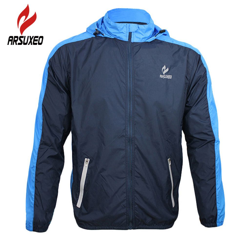 ARSUXEO Breathable <font><b>Running</b></font> Clothing Long Sleeve Jacke Wind Coat Men's Windproof Waterproof Cycling Bicycle Bike Jersey Clothing