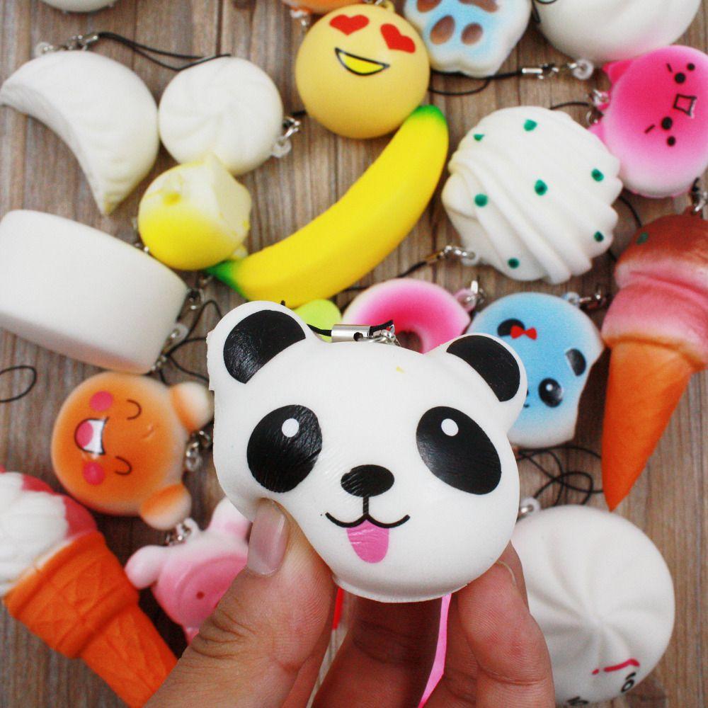 10Pcs 20Pcs Phone Strap Random Cute Mini Squishy Simulation Kawaii Panda Macaron Cake Dessert Buns Soft Random Decor Gift