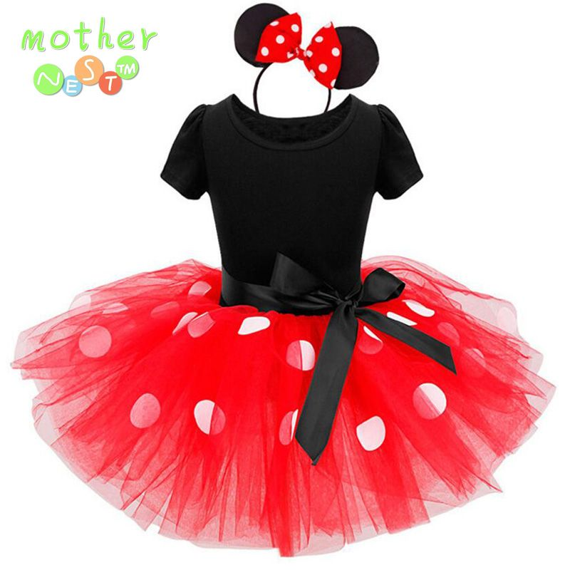 2017 El Más Nuevo Regalo de Los Cabritos Minnie tutu Vestido de Fiesta de Lujo Del Traje de Cosplay Girls Minnie + Diadema 12M-7Y Infantil Ropa de Bebé rojo