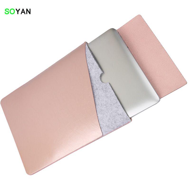 Sacoche pour ordinateur portable En Cuir Souple pour MacBook Pro Retina et Air 12 13 15 Double Poche avec Coffre-Fort Intérieur et Extérieur Tapis De Souris