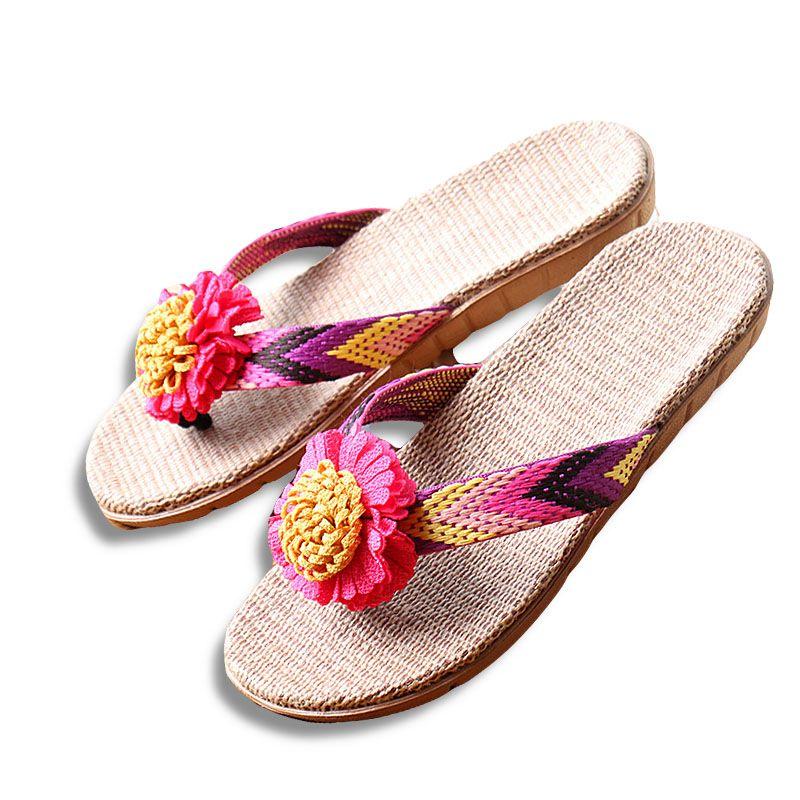 Nouveau été femmes lin pantoufles fleur ruban sandales plat EVA antidérapant lin diapositives maison Flip Flop santé paille dame plage chaussure