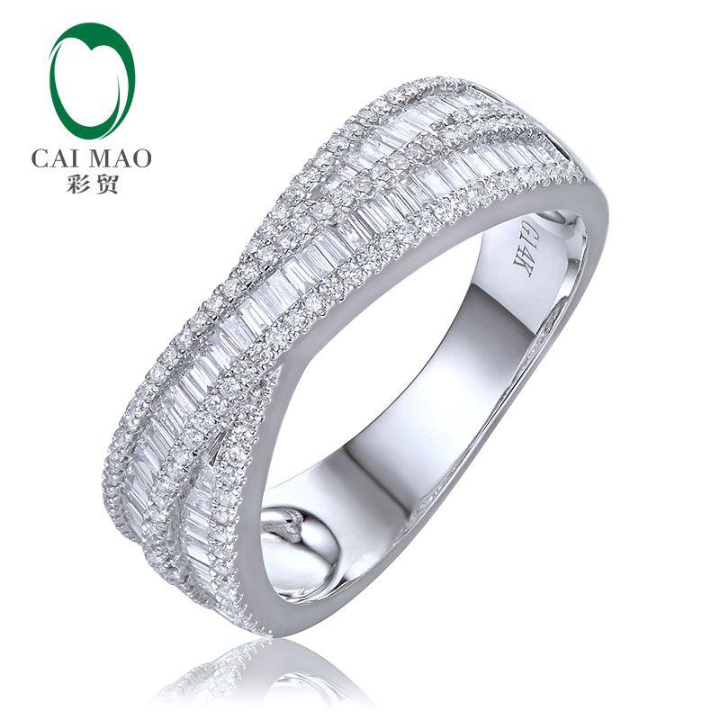 14K Gold Diamond Wedding Band Round Baguette Cut Diamonds Half Eternity Anniversary Ring