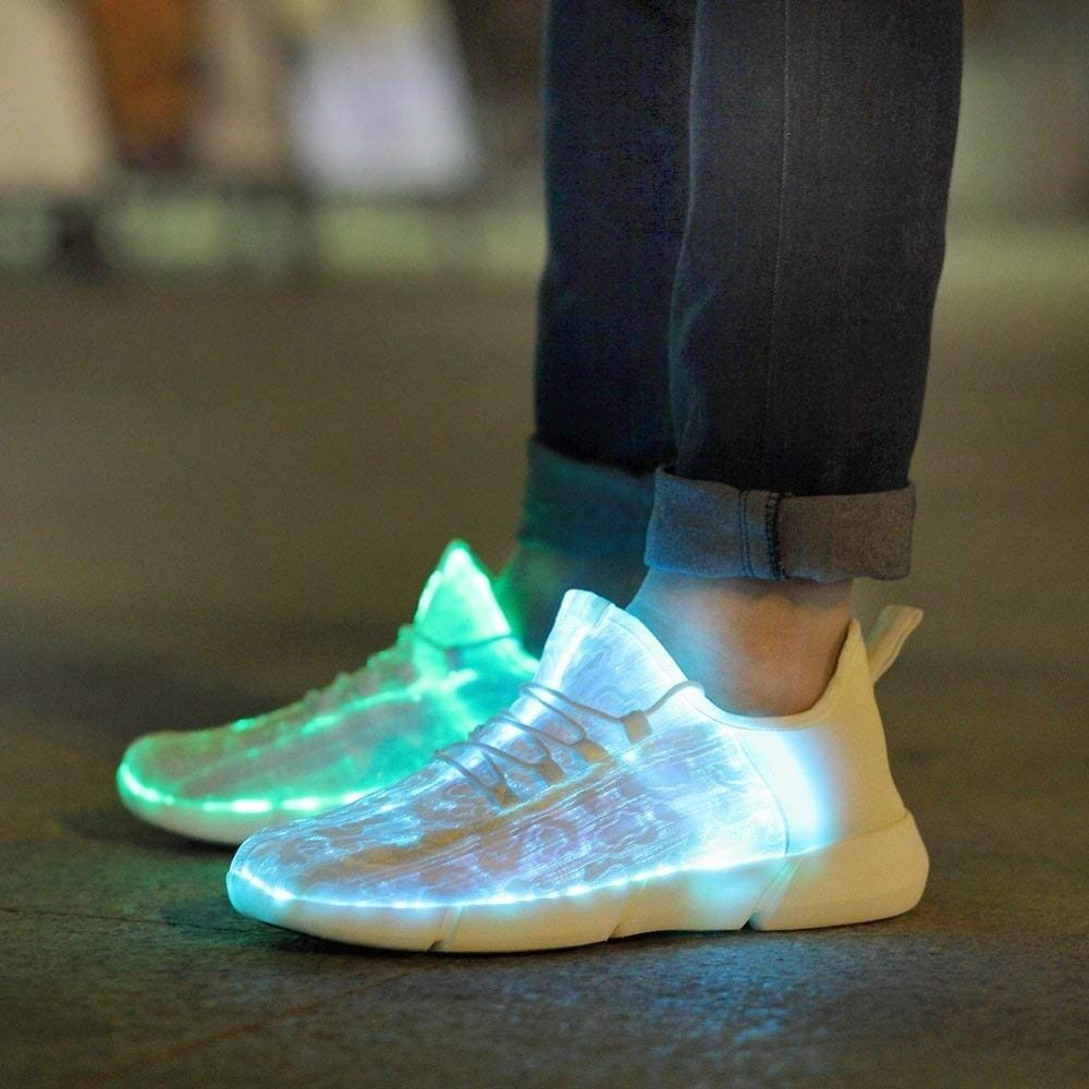 Luminous Fiber Optic Stoff Licht Up Schuhe LED 11 Farben Blinkt Weiß Erwachsene & Mädchen & Jungen USB Aufladbare Turnschuhe mit Licht