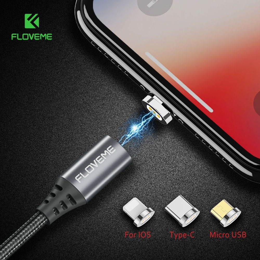 FLOVEME Magnetic USB Cable For iPhone 6 Xiaomi Redmi 4X Micro USB Type C For Lightning to USB Cable 2.4A 1M Magnet Charger Cabo