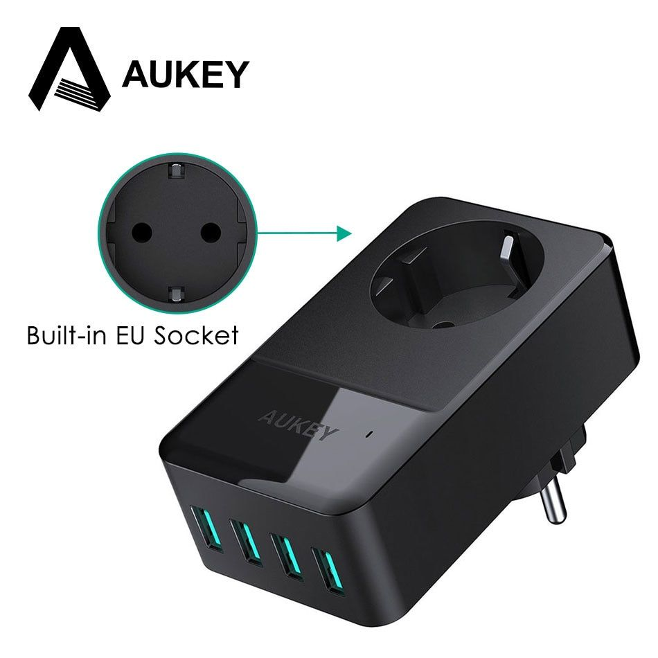 AUKEY 4-Port USB Charger & Built-in Socket Universal Wall Charger USB Mobile Phone Charger for iPhone Xiaomi Samsung Power Bank