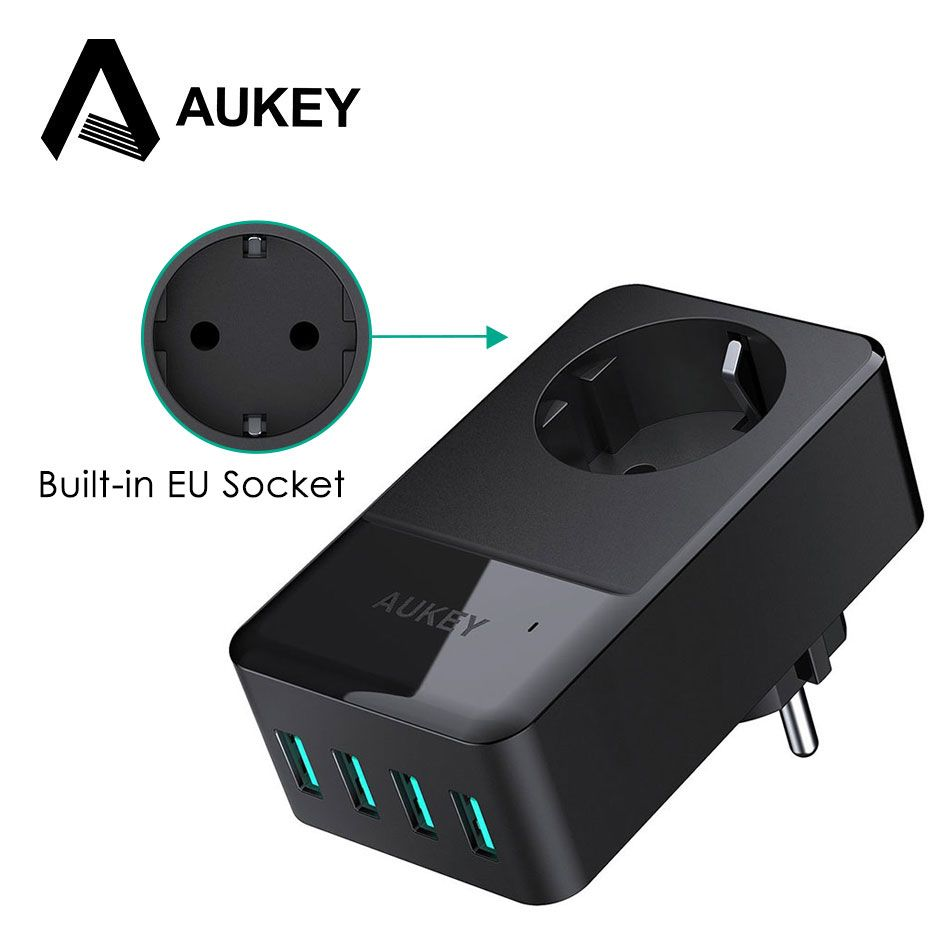 AUKEY 4-Port USB Charger & Built-in Socket Universal Wall Charger USB Mobile Phone Travel Charger EU Plug Charger for Cell Phone