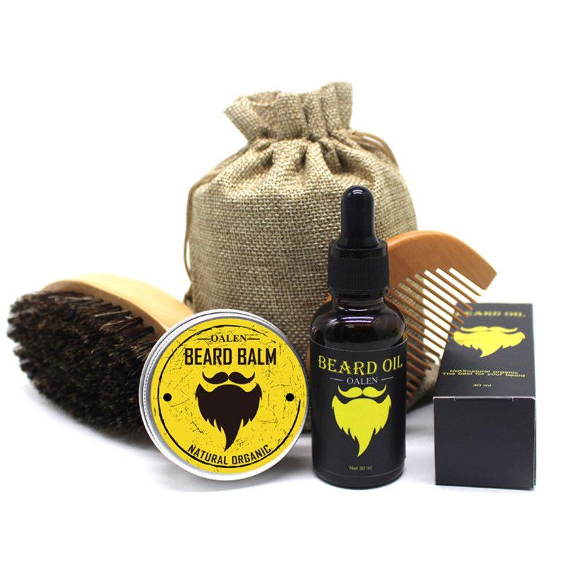 BellyLady 5 pièces/ensemble hommes Moustache crème barbe huile Kit avec Moustache peigne brosse sac de rangement style barbe ensemble