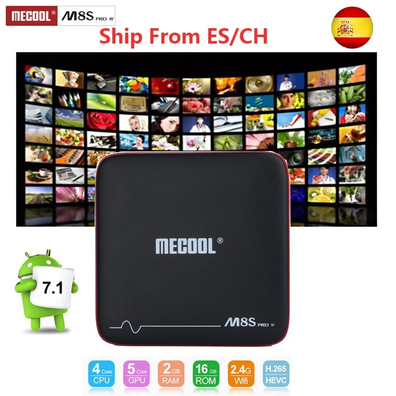 mecool m8s pro w 2G 16G Smart tvbox android 7.1 S905W CPU 2.4GHz WiFi 4K H.265 top tv box support 2500+Spain/Europe channel IPTV