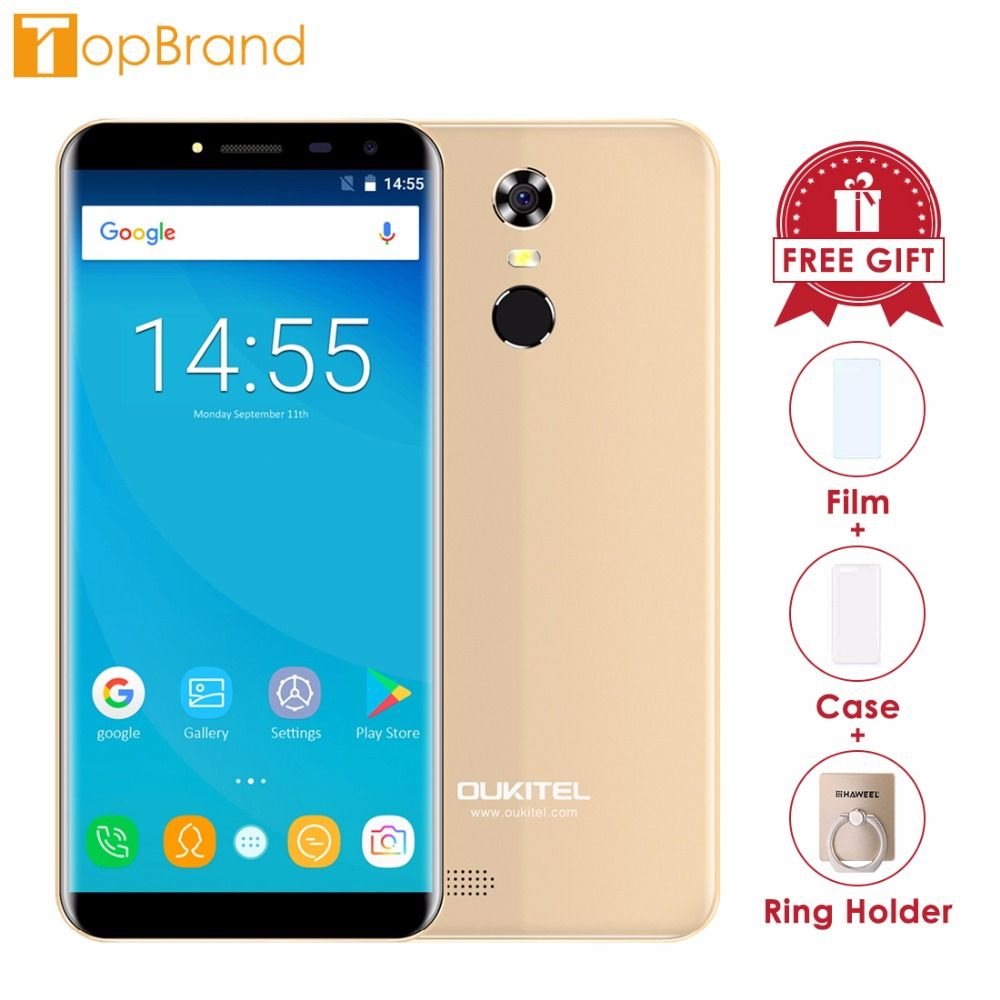 <font><b>Oukitel</b></font> C8 18:9 Aspect Ratio Mobile Phone 5.5HD Quad Core 1.3GHZ 2GB/16GB ROM 13MP Android 7.0 3000mAh Rear Touch ID Smartphone