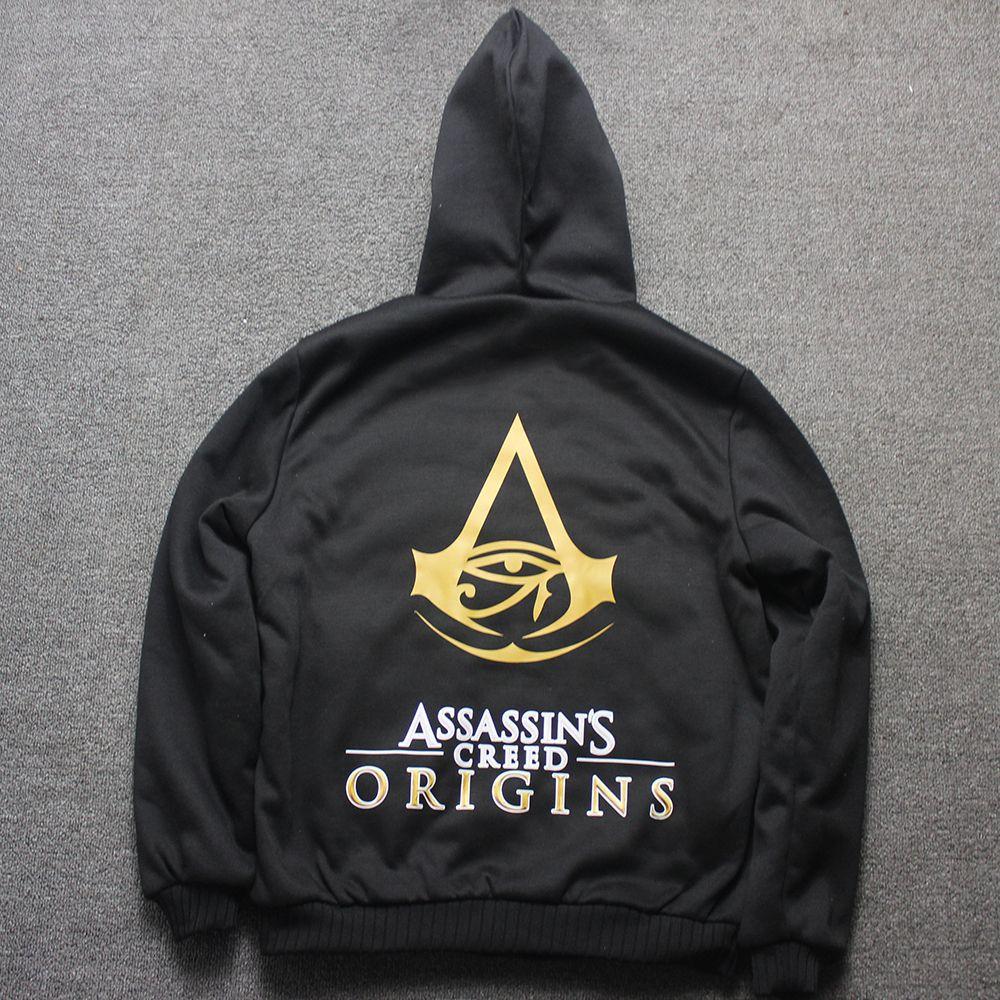 Нам Размеры качество толстые теплые Для мужчин Зимняя Assassins Creed ста Толстовка пальто с флисовой подкладкой черный серый assasins золото печати