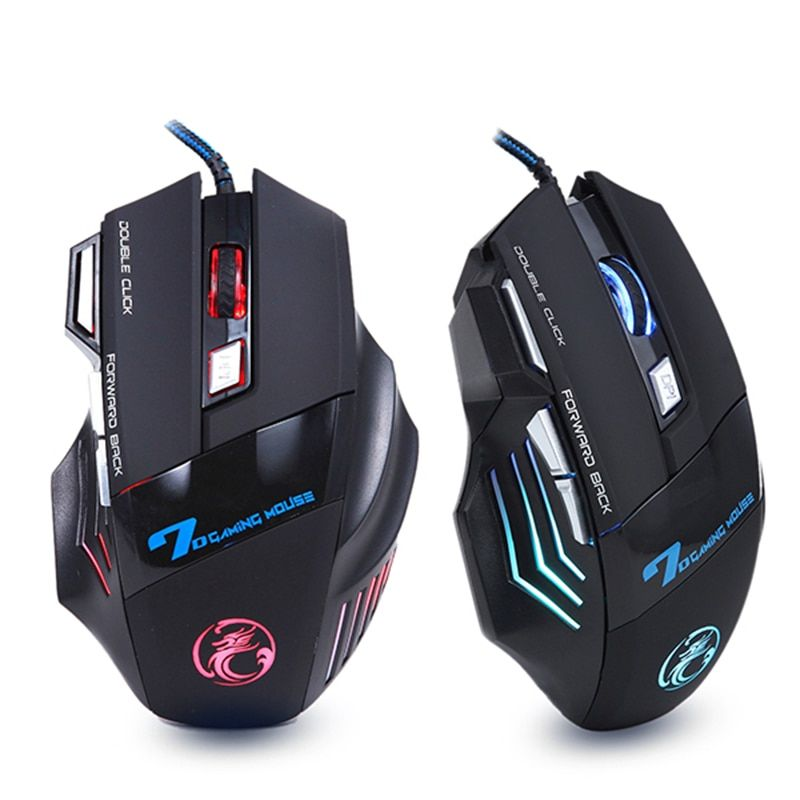 Profesional Wired Gaming Mouse 7 Botones 5500 DPI LED Óptico USB Ratón Gamer Ratones X7