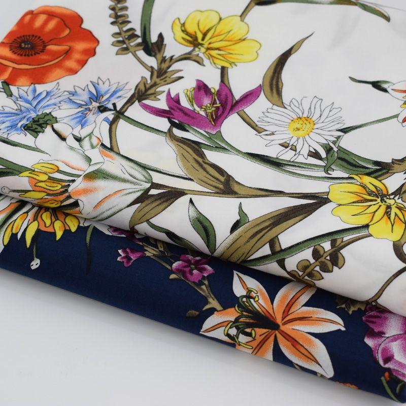 Vent Rural fleurs teinture réactive pur coton tissu pour robe chemise tissus au mètre tissu telas tecido shabby chic BRICOLAGE