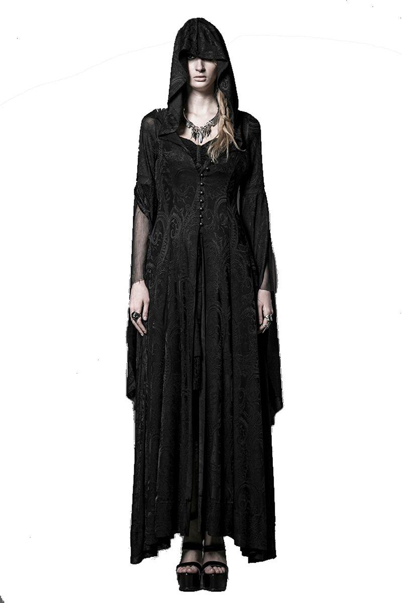 Steampunk tricot Jacquard robe Vintage gothique longue robe à capuche femmes haute prêtresse robes de sorcière