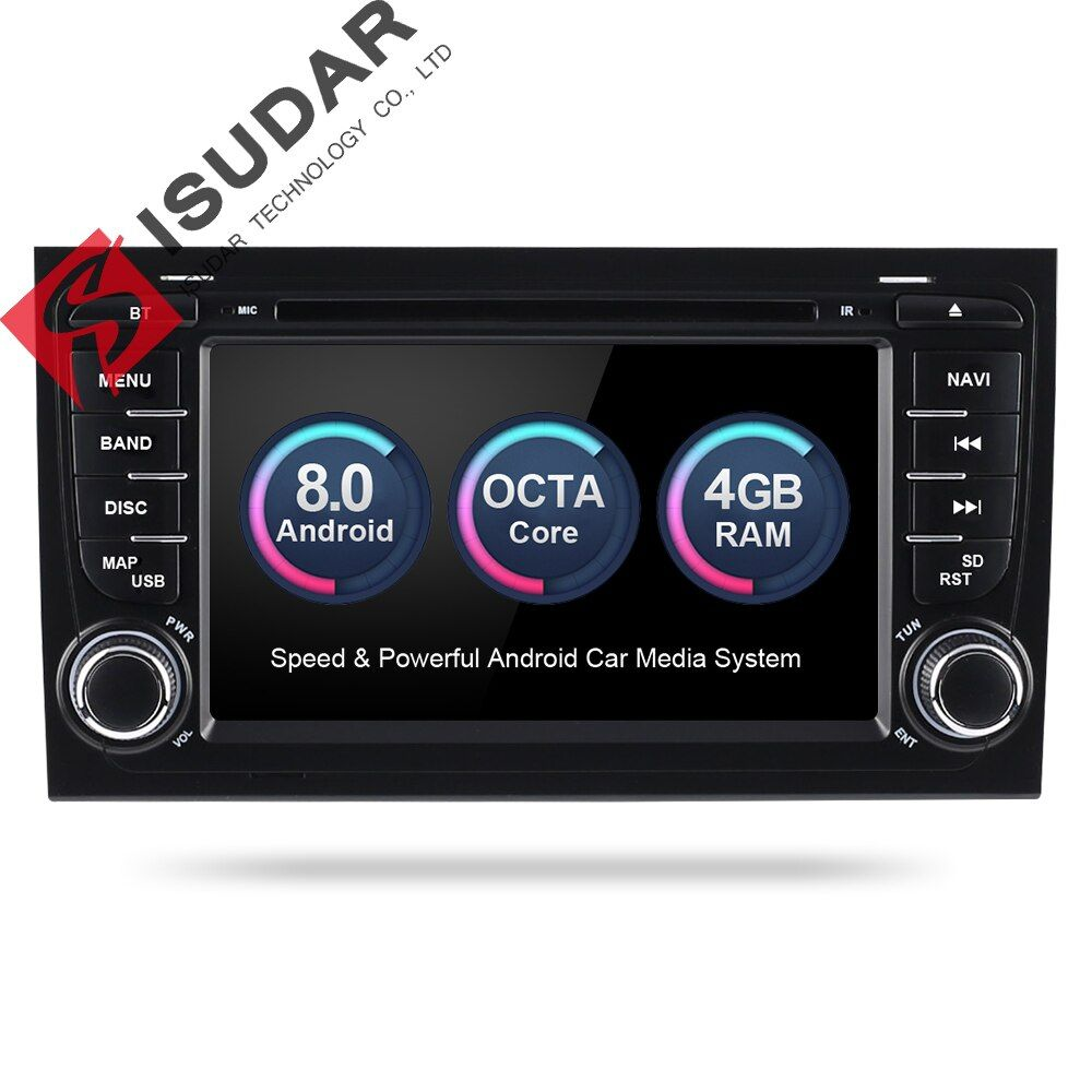 Isudar Auto Multimedia-Player Auto Radio 2 Din GPS Android 8.0.0 Stereo System Für Audi/A4/S4 2002- 2008 4 gb RAM DSP DVR OBD2 FM