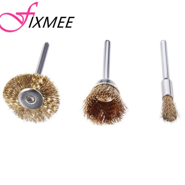 Fixmee 15pcs high quality Wire Brass Brush Brushes Wheel Dremel Accessories for Rotary Tools