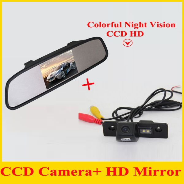 CCD HD Car RearView Camera With 4.3 Car Rearview Display Screen Mirror Monitor For ROOMSTER OCTAVIA FABIA