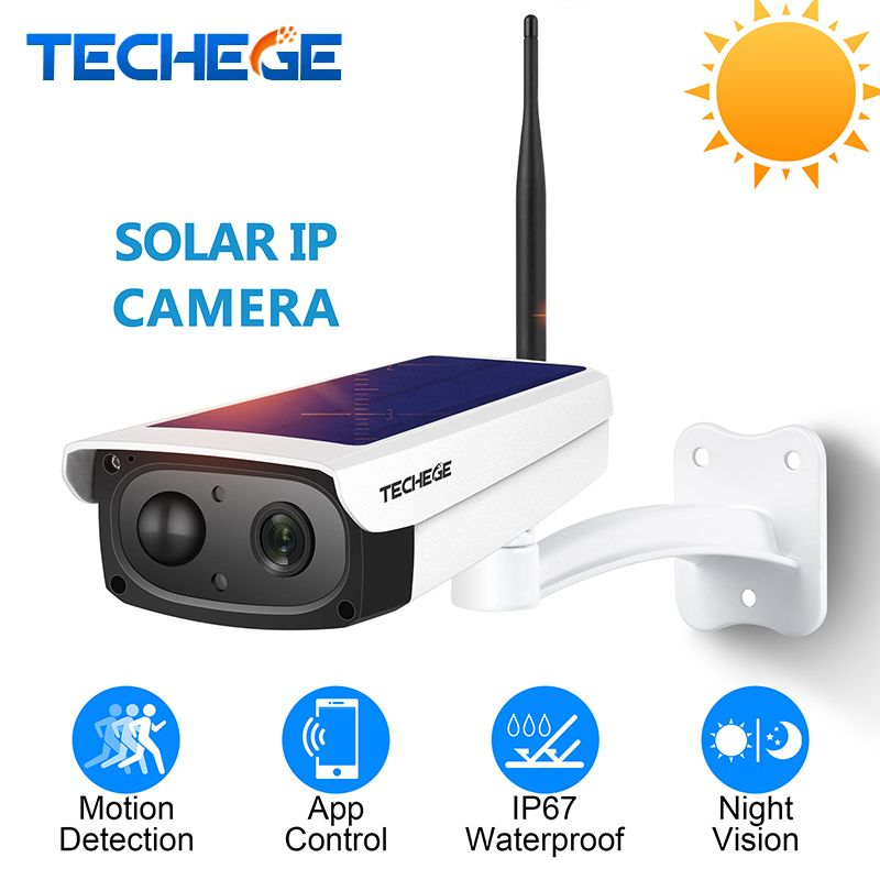 Techege 1080P HD Surveillance Cameras Waterproof Outdoor Security Solar Battery Charge Camera WIFI Cameras Audio PIR Motion