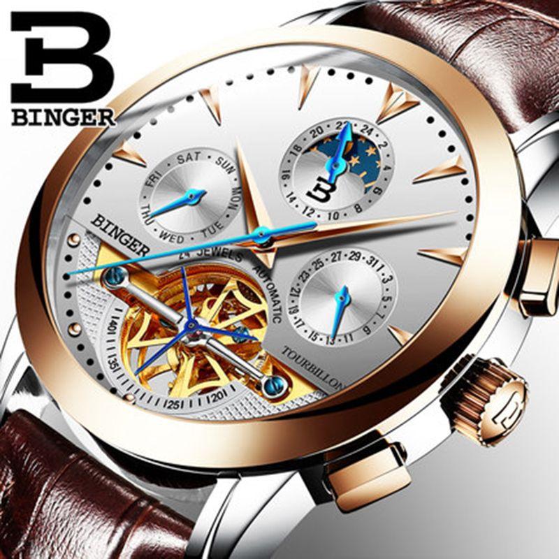 Genuine Luxury Switzerland BINGER Brand Men Self-wind waterproof full steel automatic mechanical male fashion Tourbillon watch