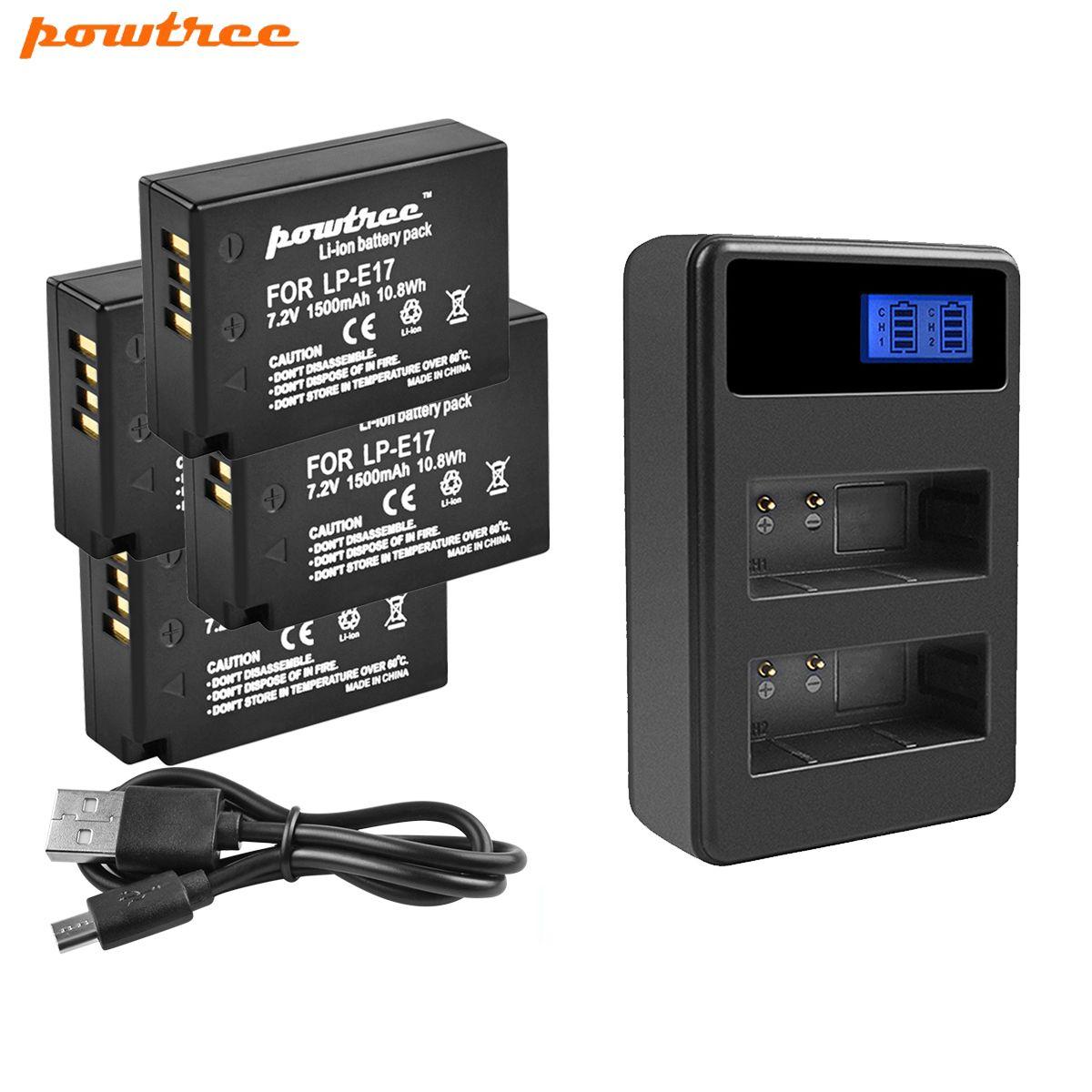 Powtree 1500mAh LPE17 LP E17 LP-E17 Batterie & LCD Double Chargeur pour appareil photo Canon EOS 200D M3 M6 750D 760D T6i T6s 800D 8000D Baiser X8i L10
