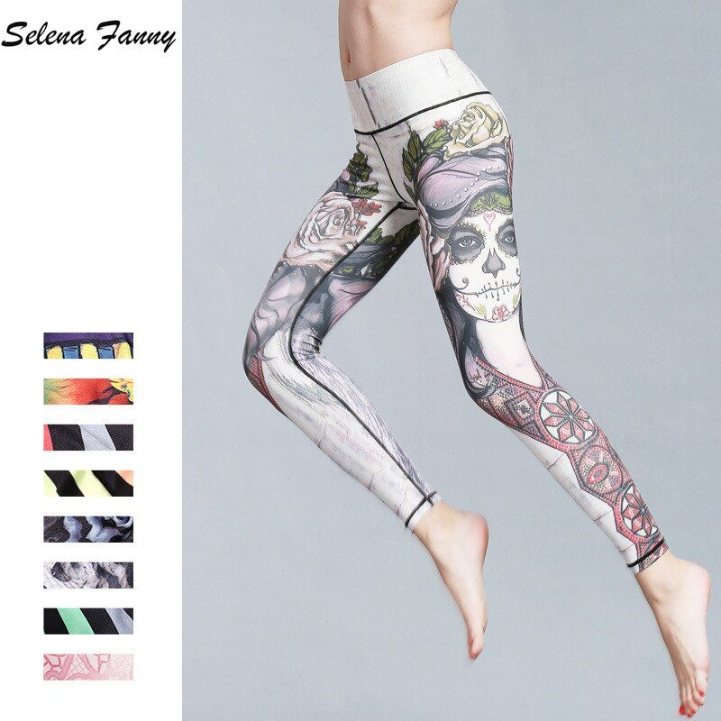 Beautiful Slim Print Quick Dry Yoga Pants Women Sport Leggings Fitness Yoga Tights Jogging Running Workout 9 Colors S-XL