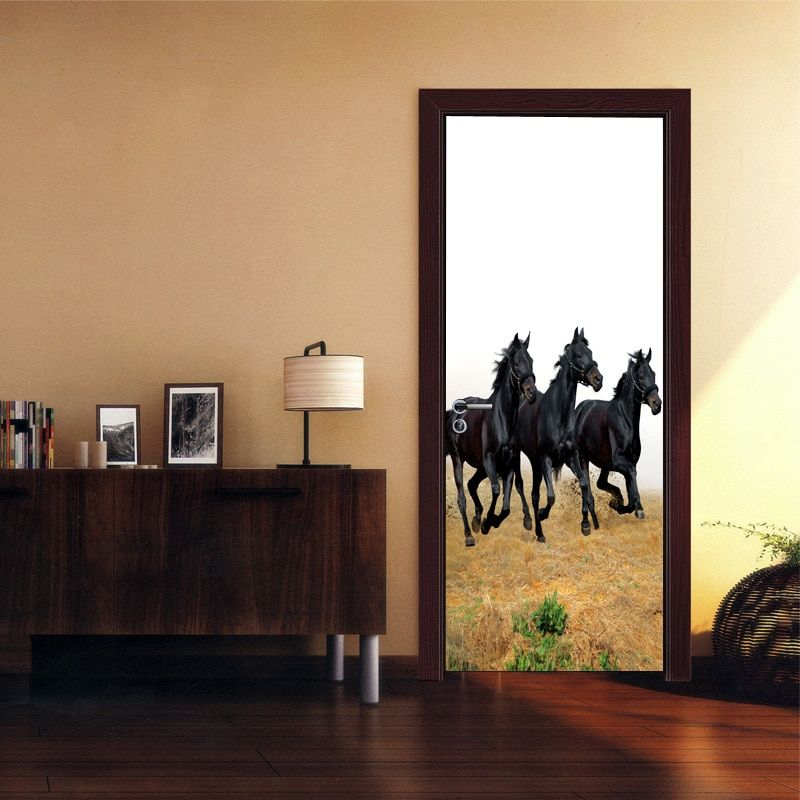 3 Dark Horses on the Grassland Door Stickers Waterproof Living Room Self Adhesive Art Wall Decal Imitation 3D Wall Sticker