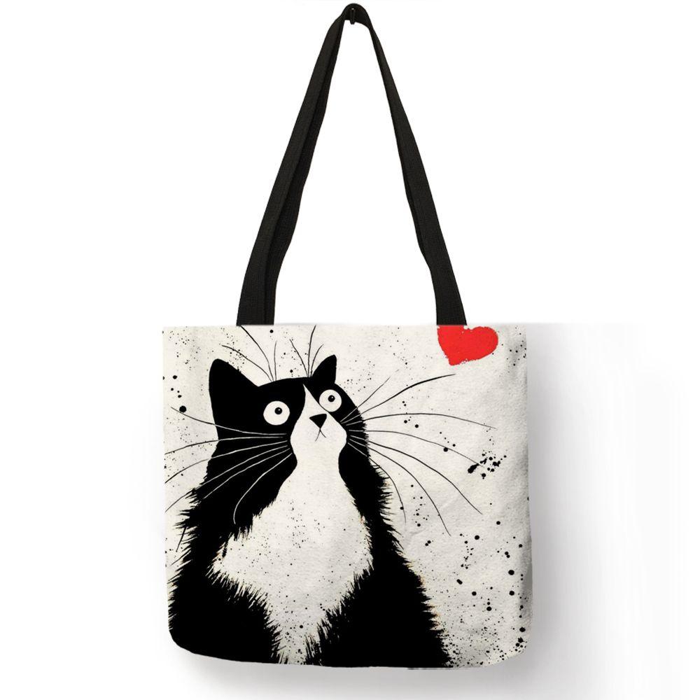 Sacs fourre-tout en lin de sac à main de femmes d'impression de chat mignon adapté aux besoins du client avec le Logo décontracté de plage de voyage