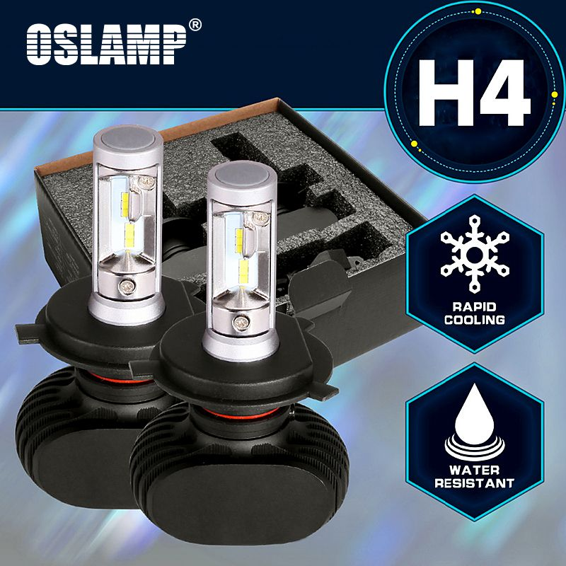 Oslamp LED H4 Car Bulbs <font><b>6500K</b></font> All-in-one Hi-Lo Beam H4 LED Headlight Fan-less Auto Lamps SUV 50W 8000LM CSP Chips Plug-n-Play