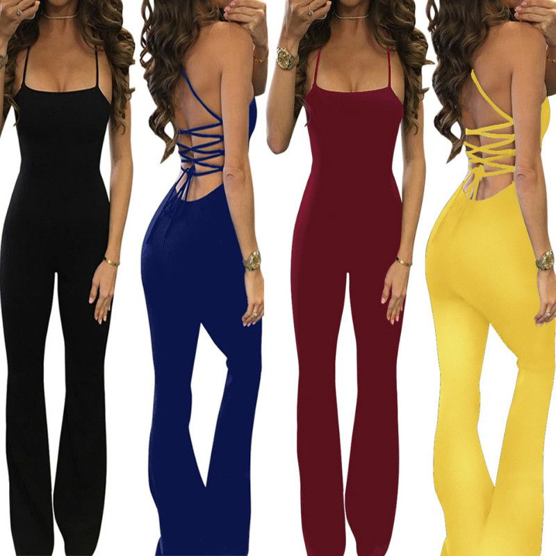 2017 Summer Sexy Jumpsuits Women Sleeveless Backless Bandage Jumpsuits Rompers Casual Long Jumpsuits Overalls Plus Size GV664