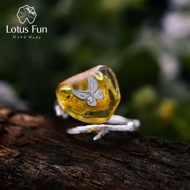 Lotus Spaß Echt 925 Sterling Silber Natürliche Bernstein Handgemachten Designer Edlen Schmuck Suchen Zurück Butterfully Ringe für Frauen Bijoux