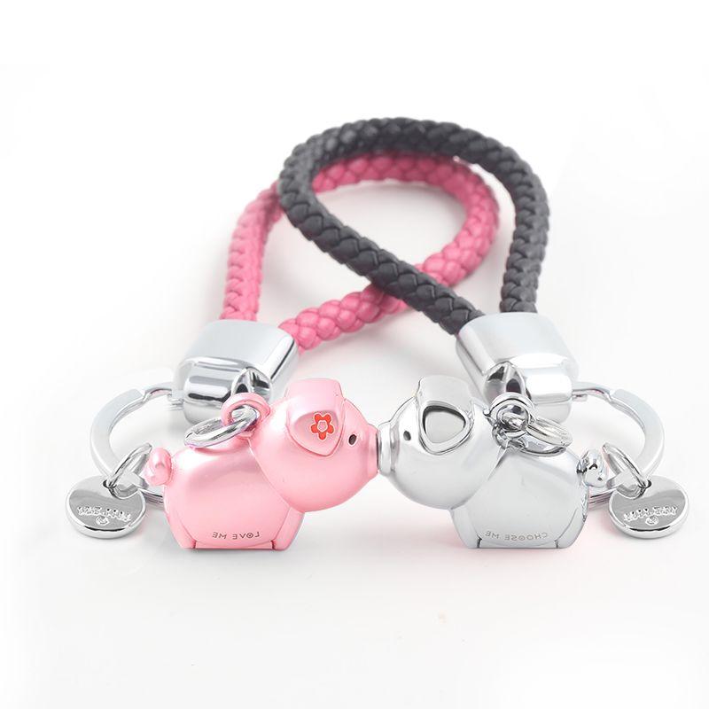 Milesi 3D kiss pig couple keychain for <font><b>Lovers</b></font> Gift Trinket lovely key holder women present Chaveiro sleutelhanger car keyring
