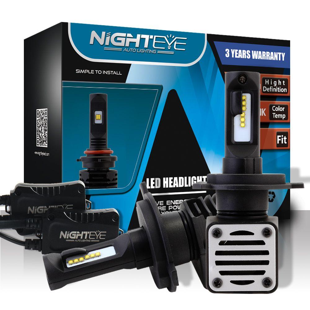 NIGHTEYE Car H4/9003 LED Auto Headlamp 6500K 80W/Set 6000LM/One 12V Waterproof IP68 2pcs Plug And Play Fog Lamps Lights Bulbs