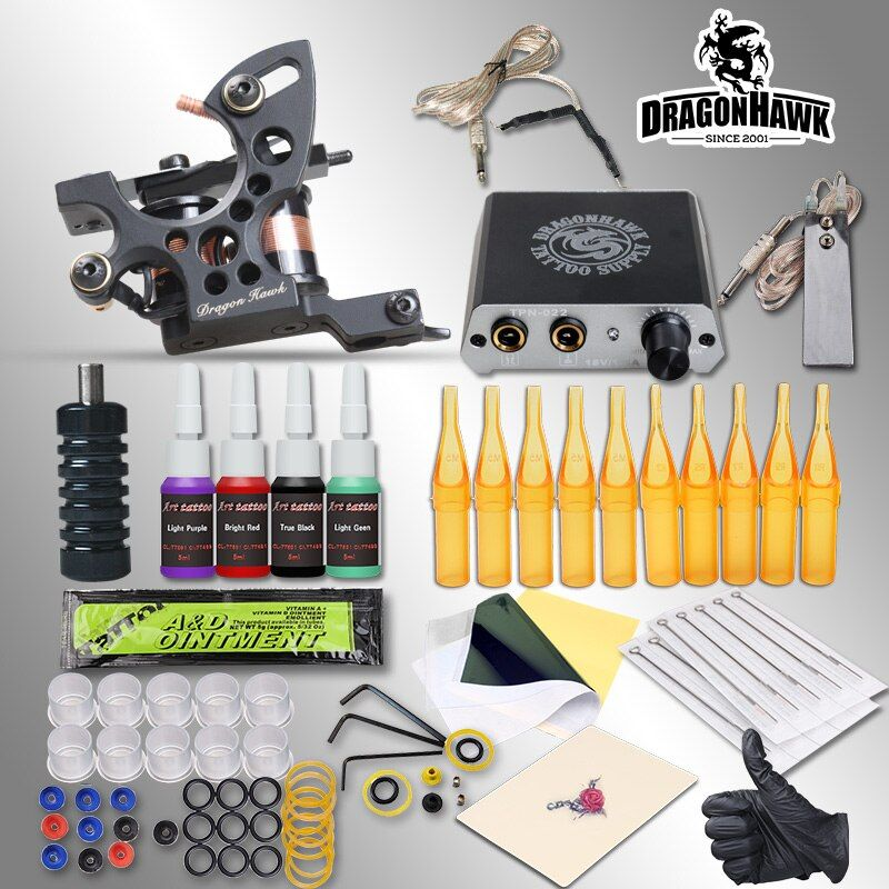 Complete Tattoo Kits 8 Wrap Coils Guns Machine 1/6oz Black Tattoo Ink Sets Power <font><b>Supply</b></font> Disposable Needle Free Shipping