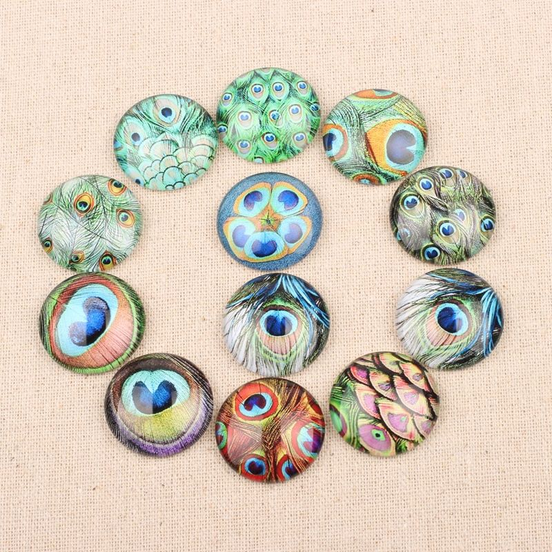20pcs Peacock Feather Photo Glass Cabochon 25mm Round Square Flatback Jewelry Pendants Cameo Cabochons diy accessories