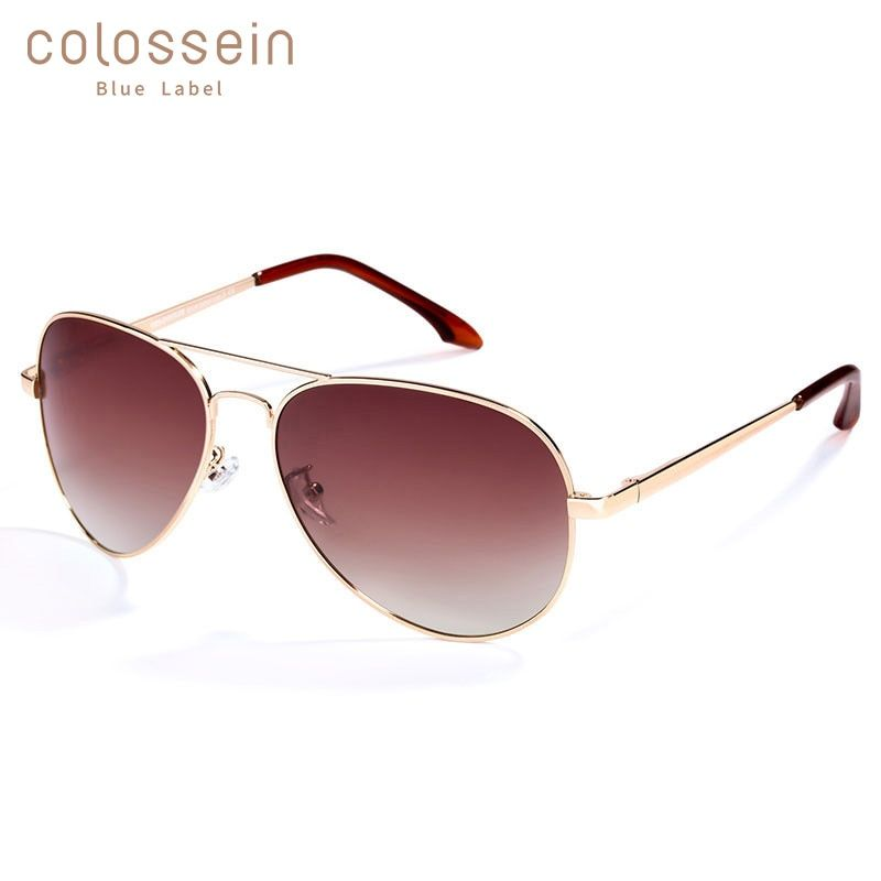 COLOSSEIN lunettes de soleil pilote hommes femmes Vintage lentille ovale classique marron conduite adulte lunettes de soleil luxe lunettes de mode UV400