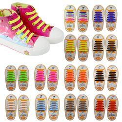 12 pcs/paire Enfants Enfants Élastique Silicone Lacets Sneakers No Cravate Lacets Enfant Chaussures Lacets Bébé Sport Athlétique Fit Bracelet