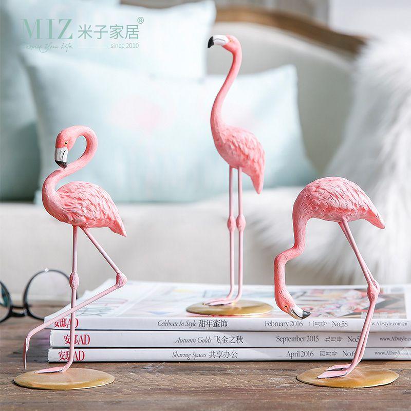 Zim Maison 3 Pièces Rose Flamingo De Bureau Figure Belle Maison Décoration Cadeau pour les Filles 1 Set Flamingo Mini Sculpture Statue