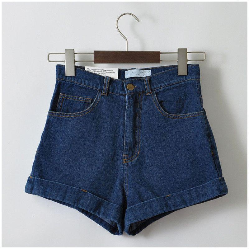 Женщины новое поступление джинсовые шорты старинные высокая талия манжеты бренда джинсовые шорты Girls'Sweet носить сексуальное Большой размер...