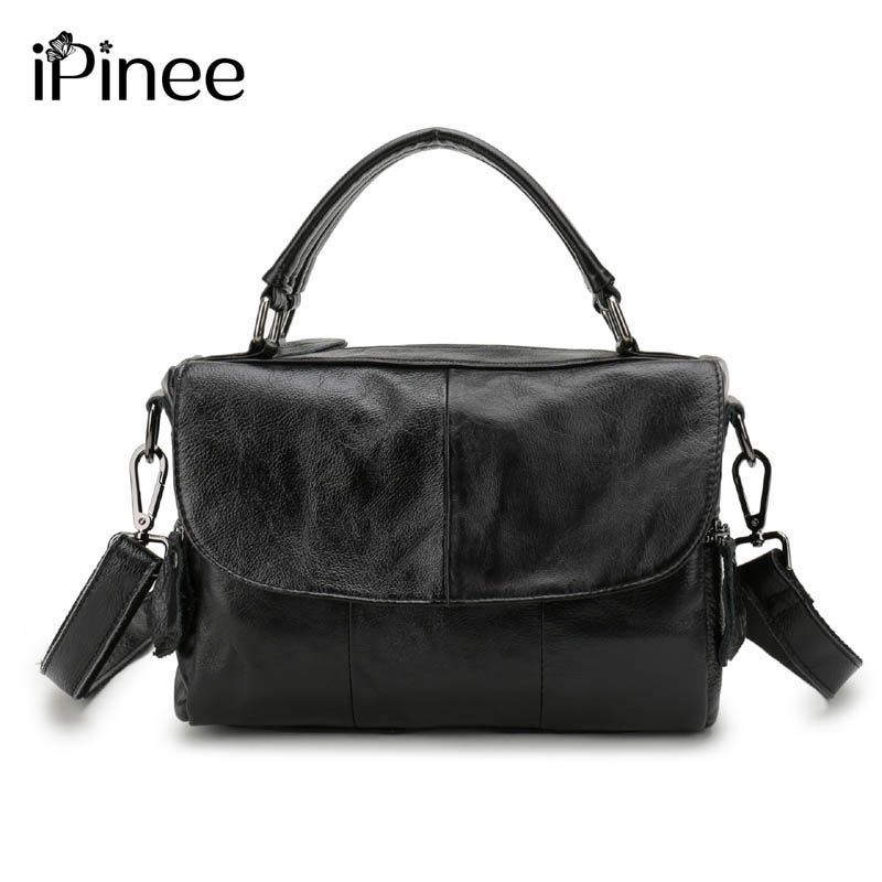iPinee Europe Style Cowhide Splicing Female Bag Genuine Leather Womens Shoulder Bags <font><b>Designer</b></font> Oil Wax Leather Handbags