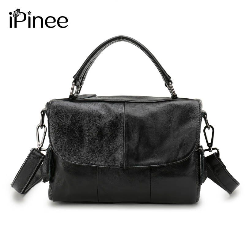 iPinee Europe Style Cowhide Splicing Female Bag Genuine Leather Womens Shoulder Bags Designer Oil Wax Leather Handbags