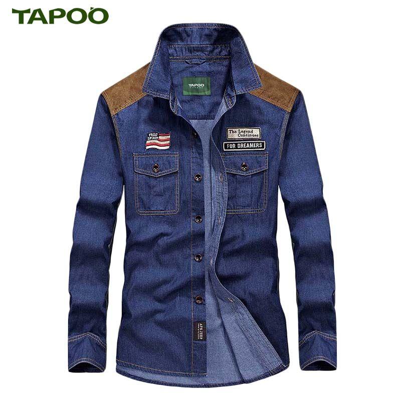 TAPOO männer Shirts Baumwolle Denim Shirts Männer Casual Shirts für mann Hohe Qualität Blau Moderne Einfache Klassische Dünne Jeans Hemd 14