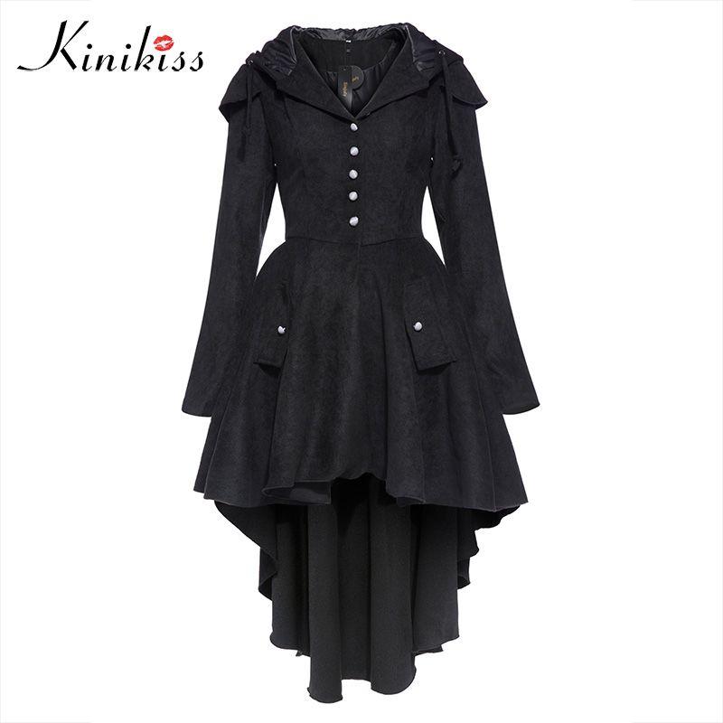 Kinikiss New Autumn Women Trench Coats Plus Size Black Hooded Asymmetric Windbreaker Street Fashion Baseball Casual Outwear