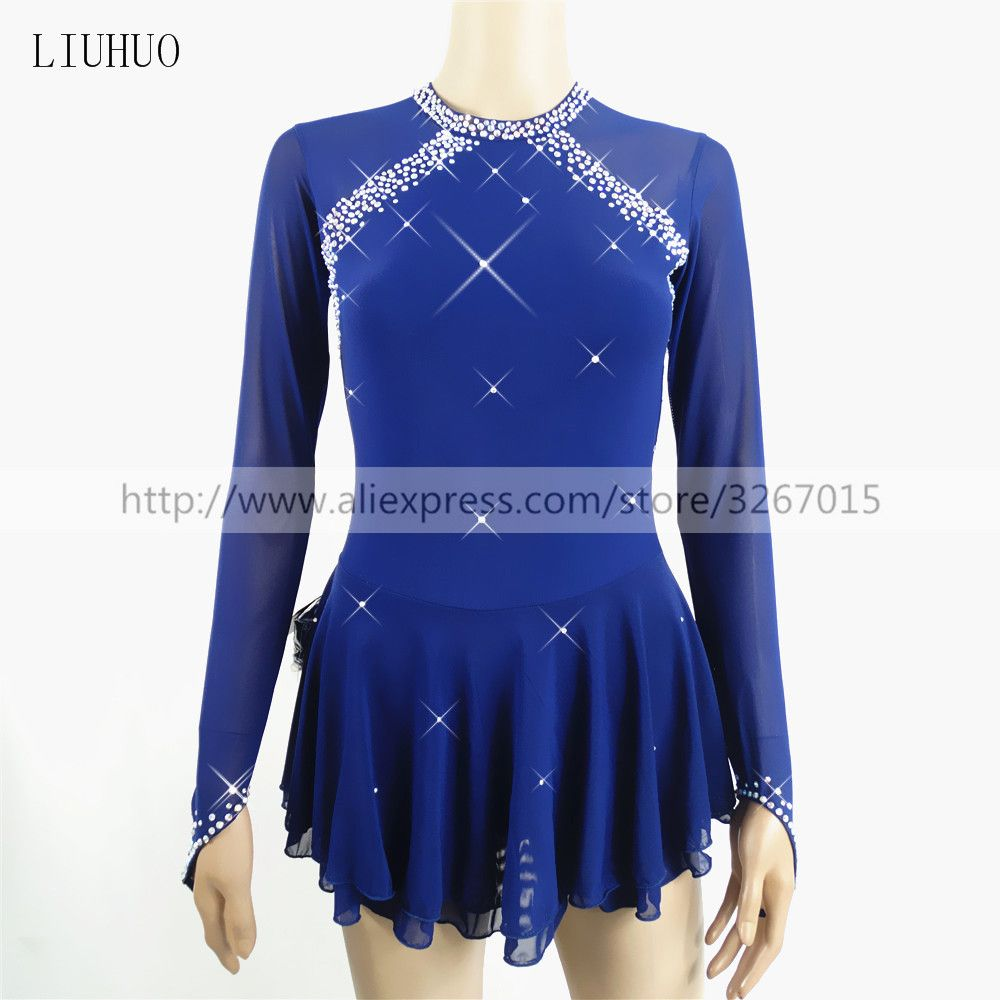 Figure Skating Dress Women's Girls' Ice Skating Dress Dark Blue Spandex Rhinestone High Elasticity Performance Skating Wear Hand