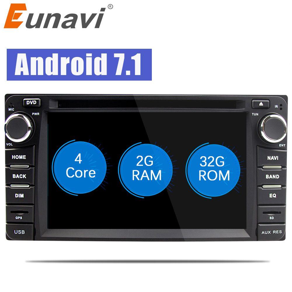 Eunavi 2din Android 7.1 car dvd radio player for Toyota Hilux VIOS Old Camry Prado RAV4 Prado 2003-2008 gps navi stereo video
