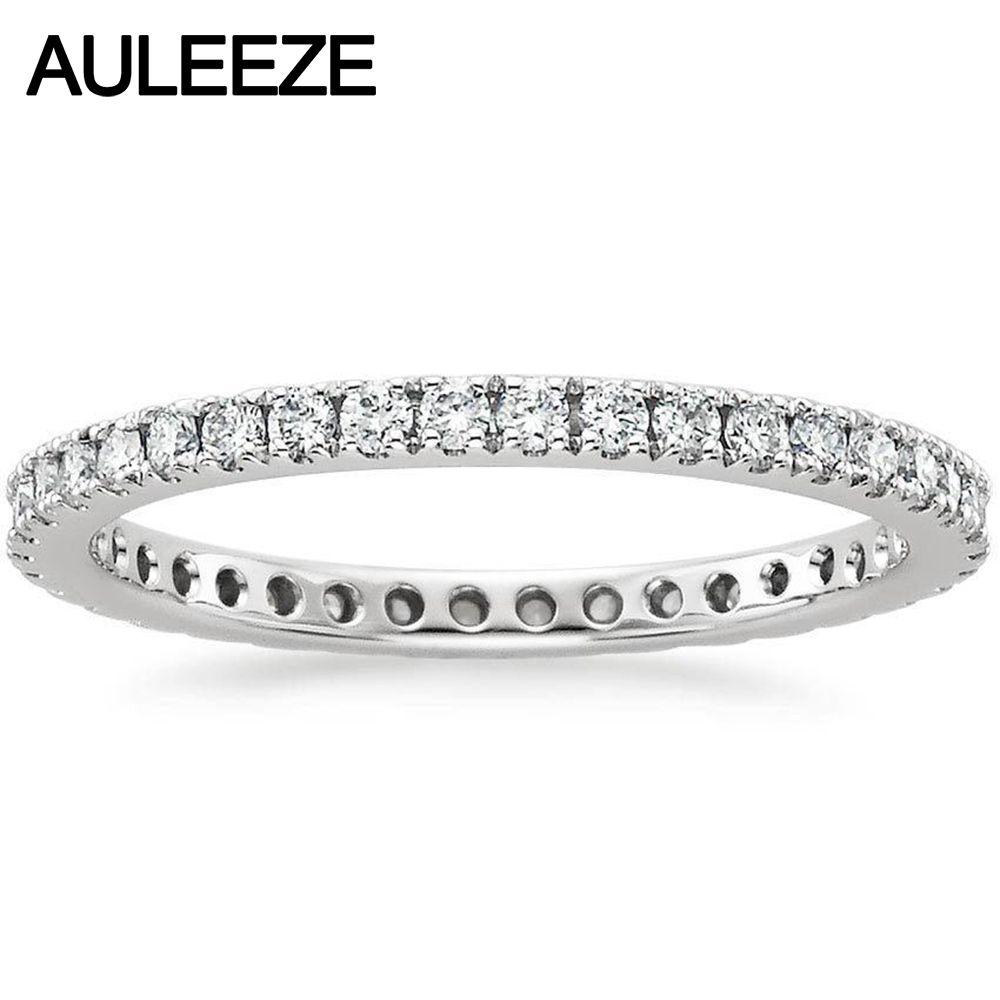 Real Diamond Bliss Eternity Engagement Hochzeit Band Natual Diamant Schmuck 14 karat 585 Weiß Gold Hochzeit Verlobung Ringe Für Frauen