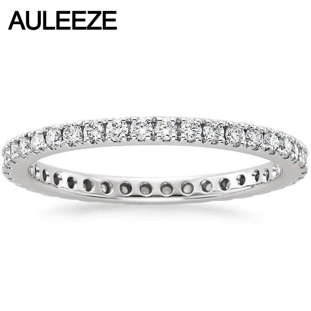 Real Diamond Bliss Eternity Engagement Wedding Band Natual Diamond Jewelry 14K 585 White Gold Wedding Engagement Rings For Women