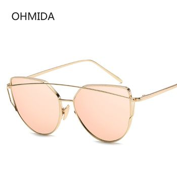 New Fashion Cat Eye Sunglasses Women Brand Designer Twin-Beam Mirror Lens Sun Glasses Rose Gold Metal UV400 Lentes de sol Hombre