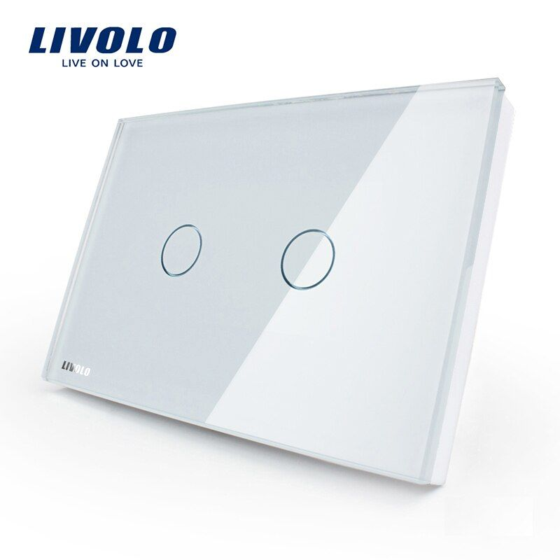 LIVOLO US standard Wall Touch Light Switch, AC 110~250V, Ivory White Glass Panel, 2-gang 1way, VL-C302-81